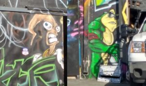 Some awesome graffiti outside the pit area.