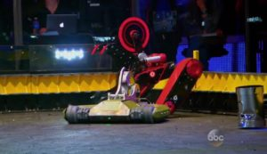 Above: Red Devil starts transforming into the old BattleBots logo.